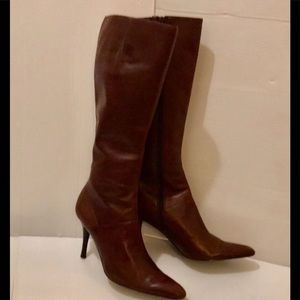 Nine West Brown Tall Leather Heel Boots